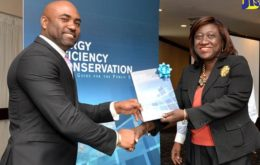 Science, Energy and Technology Minister, Dr. the Hon. Andrew Wheatley (left), presents a copy of the Energy Efficiency and Conservation Standards Guide to Training Coordinator at the Bureau of Standards Jamaica (BSJ), Sonia Morgan, at the launch of the guide at The Jamaica Pegasus hotel in New Kingston on February 21. Image: Dave Reid, via Jamaica Information Service.