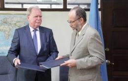 Secretary-General of the Caribbean Community (CARICOM) Ambassador Irwin LaRocque and Germany's new Ambassador to CARICOM, His Excellency Holger Michael. Image via CARICOM Today