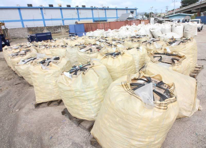 Plastic collected for recycling. Image: via Trinidad and Tobago Newsday