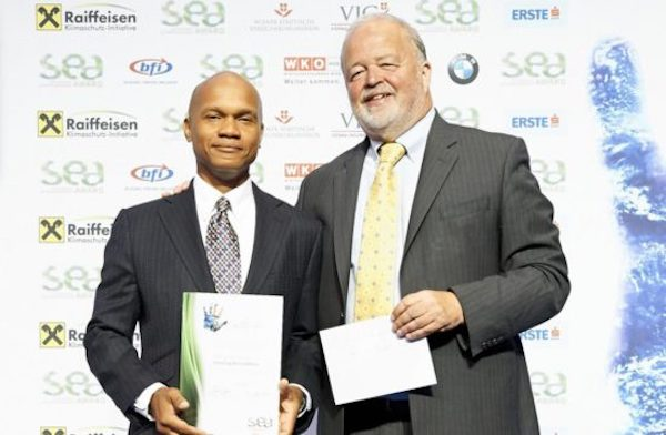 Award-winning environmental entrepreneur Wayne Neale (left). Image: via the Saint Lucia Star