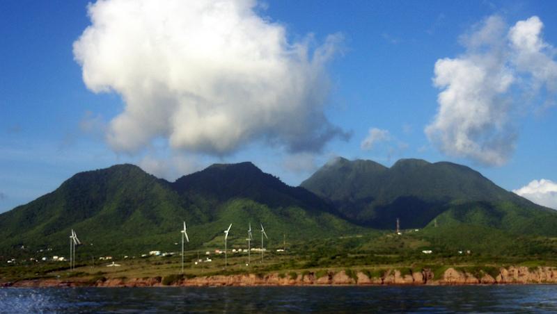 Wind turbines on Nevis. Image: Lauren Delizia