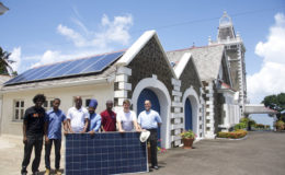 Installation of solar photovoltaic power system on the public residence of the Governor-General, Government House, in Saint Lucia. Image: via OECS Commission
