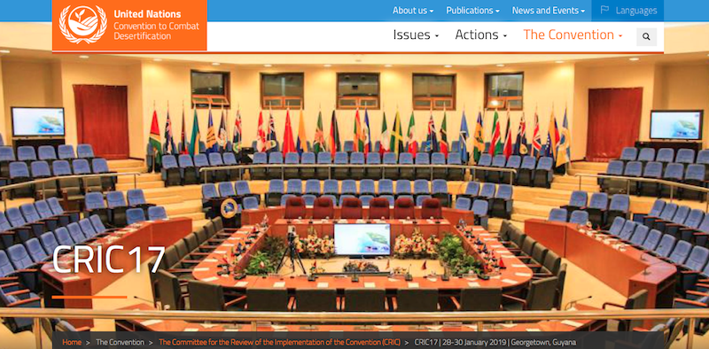 Screenshot from UNCCD website