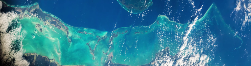 Photograph of the Belize Barrier Reef from the International Space Station. Image: Jeff Williams (NASA).